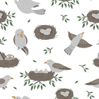 Naadloze patroon met babyvogels en hun ouders