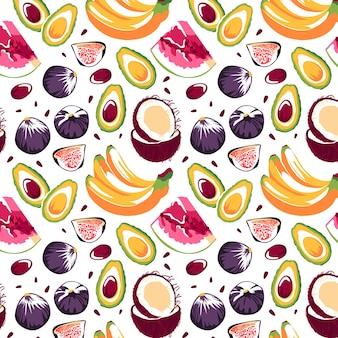 Naadloze patroon met bananen avocado kokos vijgen watermeloen op een witte achtergrond