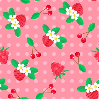 Naadloze patroon met bessen. kersen en aardbeien