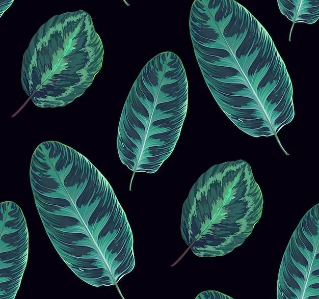 Naadloze patroon met bladeren, botanische textuur