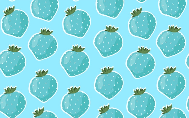 Naadloze patroon met blauwe aardbeien. cartoon hand getrokken stijl.