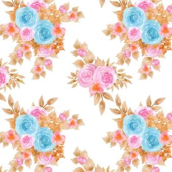Naadloze patroon met blauwe en roze bloemen
