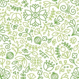 Naadloze patroon met bloeiende planten getekend met groene contourlijnen op witte achtergrond. florale achtergrond met weide bloemen. seizoensgebonden vectorillustratie in moderne lijn kunststijl voor inpakpapier.