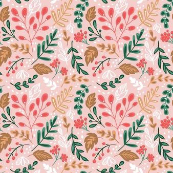 Naadloze patroon met bloemen en planten.