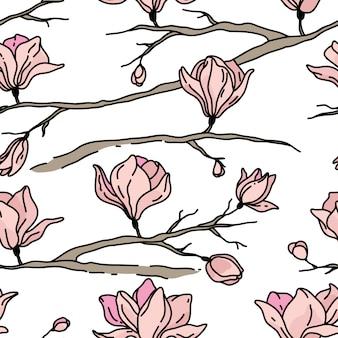Naadloze patroon met bloemen. magnolia