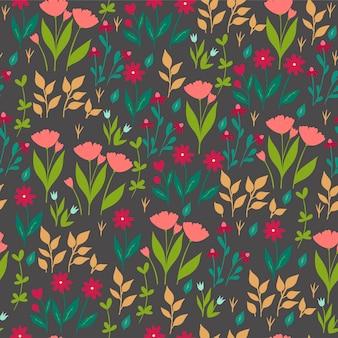 Naadloze patroon met bloemen op een donkere achtergrond.