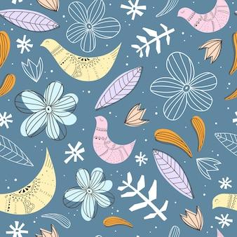 Naadloze patroon met bloemen, vogels.