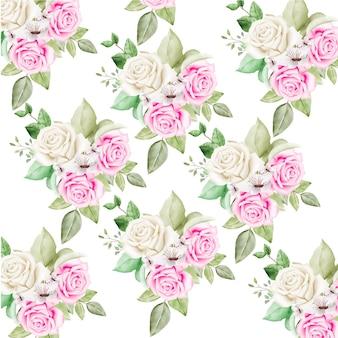 Naadloze patroon met bloemenbladeren aquarel