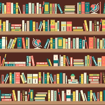 Naadloze patroon met boeken over boekenkasten