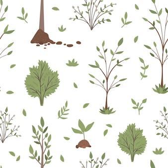 Naadloze patroon met bomen