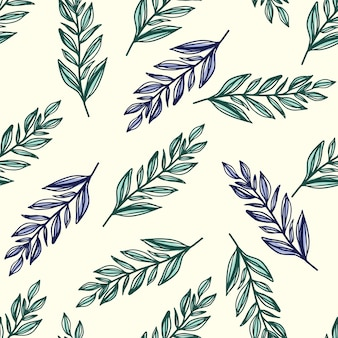 Naadloze patroon met botanisch gebladerte ornament. de gestileerde bladeren van de overzichtstak in groene en blauwe kleuren op witte achtergrond. voor behang, textiel, verpakking, stof. illustratie.