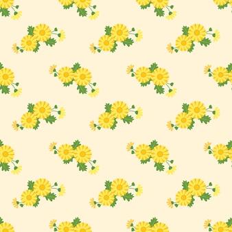 Naadloze patroon met botanische bloem blad plant Premium Vector