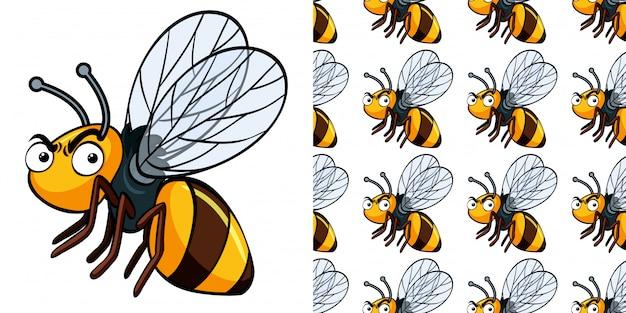 Naadloze patroon met boze bijen
