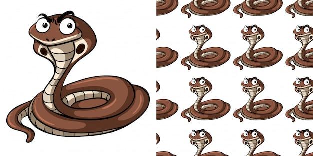 Naadloze patroon met bruine cobra