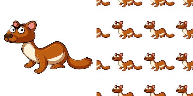 Naadloze patroon met bruine otter