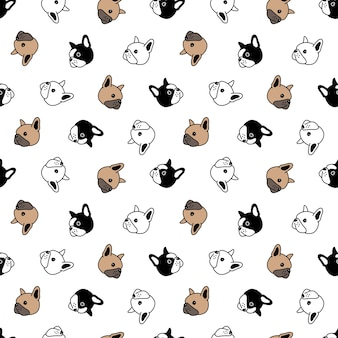 Naadloze patroon met bulldog hoofd