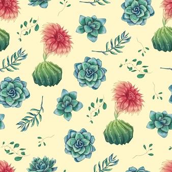 Naadloze patroon met cactussen en vetplanten