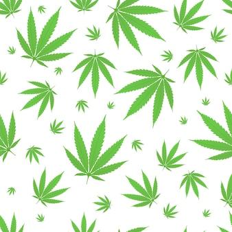 Naadloze patroon met cannabis hennep plant groene bladeren vlakke stijl ontwerp vectorillustratie