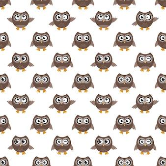 Naadloze patroon met cartoon bruine uilen