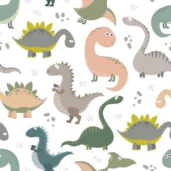 Naadloze patroon met cartoon dinosaurussen.