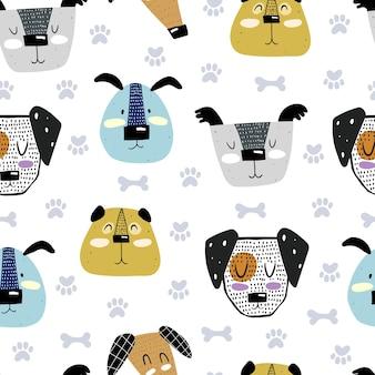 Naadloze patroon met cartoon honden