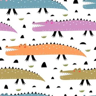 Naadloze patroon met cartoon krokodillen