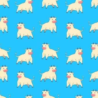 Naadloze patroon met cartoon os op blauwe achtergrond