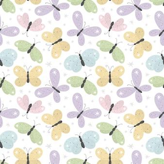Naadloze patroon met cartoon vlinders