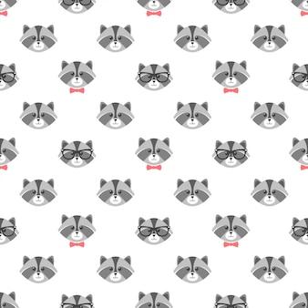 Naadloze patroon met cartoon wasberen