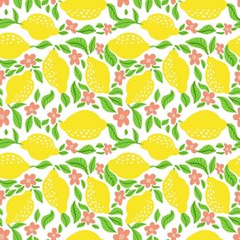 Naadloze patroon met citroenen en bloemen. vector illustratie citrus vers patroon geïsoleerd op een witte achtergrond. rijpe citroen, bladeren en bloesembloem.