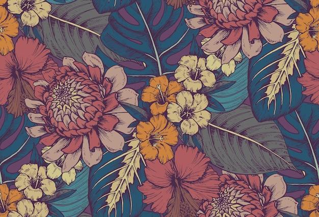 Naadloze patroon met composities van hand getrokken tropische bloemen, palmbladeren, jungleplanten, paradijsboeket.