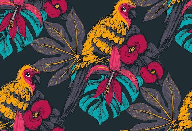 Naadloze patroon met composities van hand getrokken tropische bloemen, palmbladeren, jungleplanten