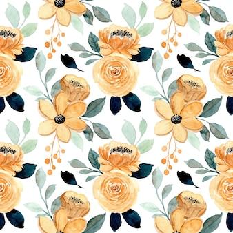 Naadloze patroon met crème bloemen en groene bladeren aquarel