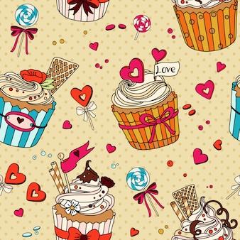 Naadloze patroon met cupcakes