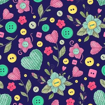 Naadloze patroon met de hand gemaakt gebreide bloemen en elementen