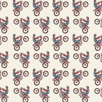 Naadloze patroon met de schedel berijdt de motorcafe racer