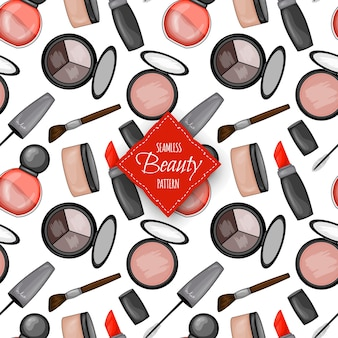 Naadloze patroon met decoratieve cosmetica. cartoon-stijl. vector illustratie.