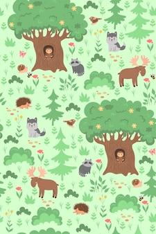 Naadloze patroon met dieren en planten in het bos. vectorafbeeldingen.