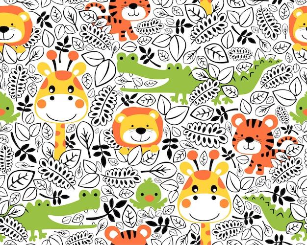 Naadloze patroon met dieren in het wild cartoon