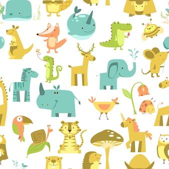Naadloze patroon met dieren schattige dieren vector. dierentuin illustratie set