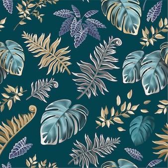 Naadloze patroon met donkere bladeren van tropische planten.