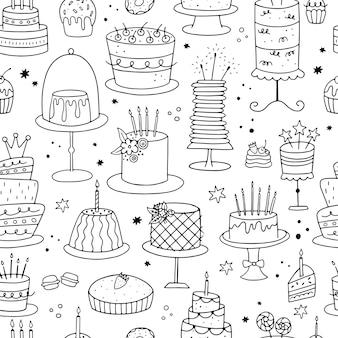 Naadloze patroon met doodle taarten.