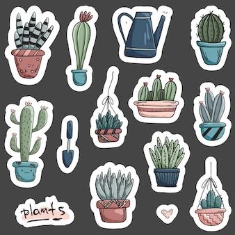 Naadloze patroon met doodles huis planten in potten.