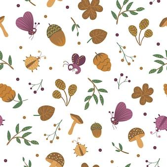 Naadloze patroon met eikels en insecten