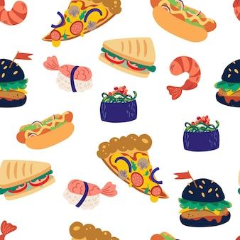 Naadloze patroon met fastfood. hamburger, pizza, sushi, garnalen en sandwich. lekkere ongezonde maaltijden. ontwerpelement voor website, kookboek, restaurantmenu, inpakpapier. vectorillustratie