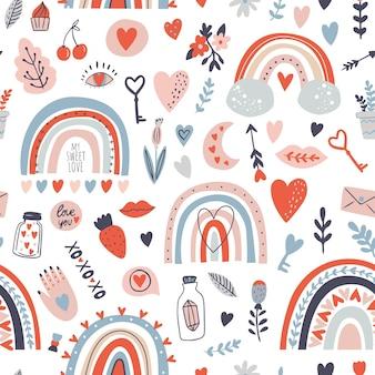 Naadloze patroon met felle kleuren regenbogen. valentijnsdag patroon