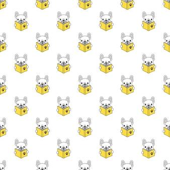 Naadloze patroon met franse bulldog leesboek