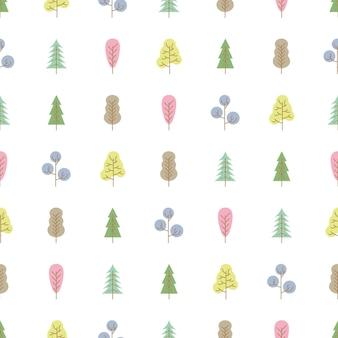 Naadloze patroon met gekleurde bomen op witte achtergrond. vector illustratie.