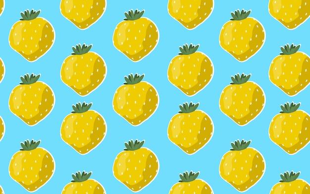 Naadloze patroon met gele aardbeien op een blauwe achtergrond.