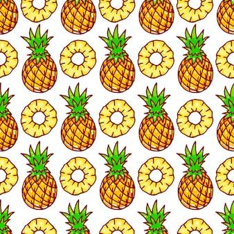 Naadloze patroon met gele ananas